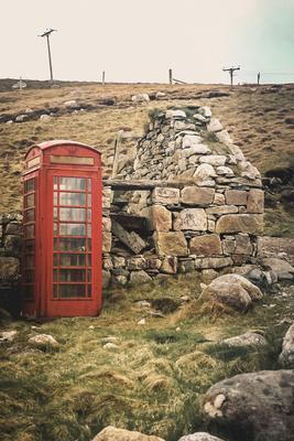 Telefonzelle auf der Insel Lewis and Harris