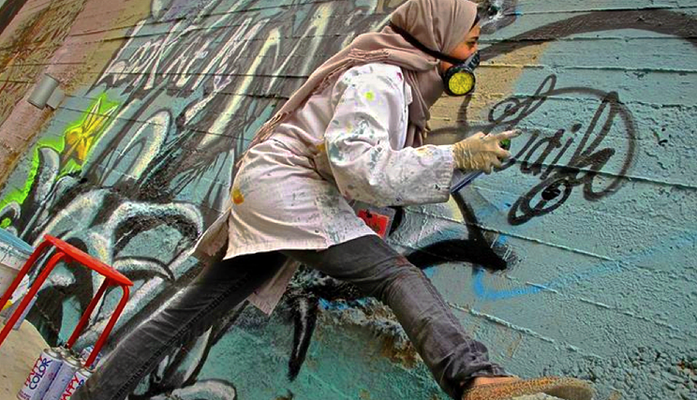 Irbid, Jordan. Feminist Graffiti. Laila Ajjawi. Graffiti