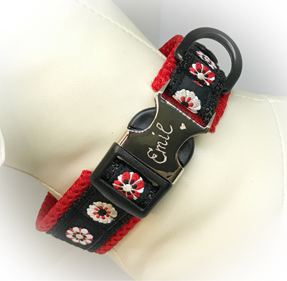 Hundehalsband gepolstert und verstellbar, Schliesse aus Kunststoff/Metall mit Gravur