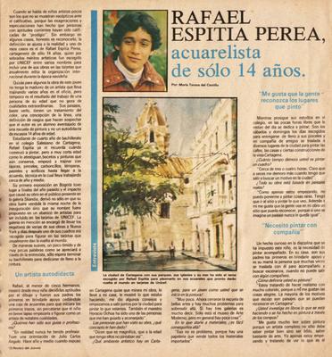 Revista Jueves 1982. Rafael Espitia acuarelista de 14 años. Por María Teresa del Castillo