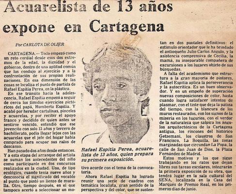 Rafael Espitia, Acuarelista de 13 años expone en Cartagena