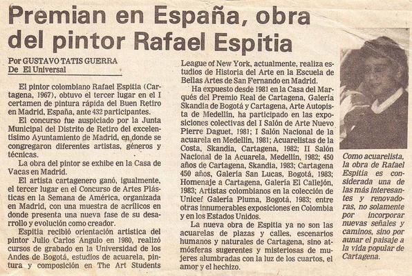 Rafael Espitia pintor ganador en España. El Universal por Gustavo Tatis Guerra.
