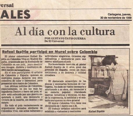 """Rafael Espitia participó en mural sobre """"Colombia Viva"""" en Madrid, España. Al día con la cultura por Gustavo Tatis Guerra."""