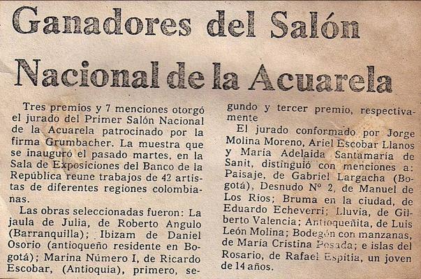 Ganadores del Salón Nacional de la Acuarela, Medellín. Rafael Espitia