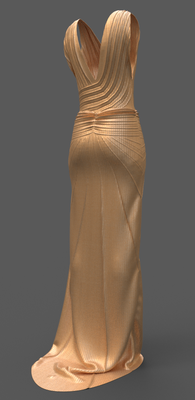 Digital fashion design - golden dress gown by artist Deborah Leunig