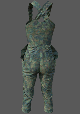 Digital fashion design - female camo outfit by artist Deborah Leunig