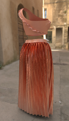 Digital fashion design - coral pleat skirt by artist Deborah Leunig