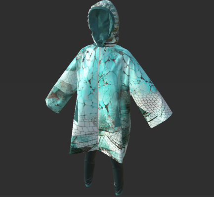 Digital fashion design - turquise cellular rain coat by artist Deborah Leunig