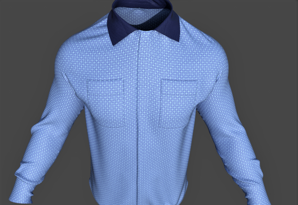 Digital fashion design - male shirt by artist Deborah Leunig