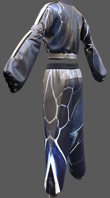 Digital fashion design - midnight blue cellular tracksuit by artist Deborah Leunig