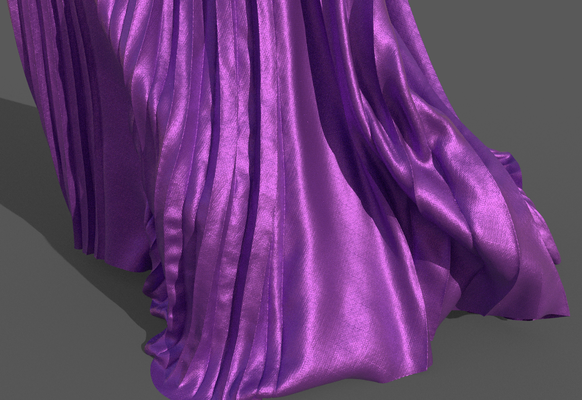 Digital fashion design - purple fuchsia dress gown by artist Deborah Leunig