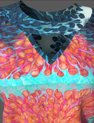 Digital fashion design - orange blue cut out sweater  by artist Deborah Leunig
