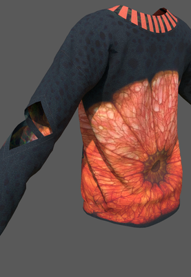 Digital fashion design - orange cut out sweater  by artist Deborah Leunig