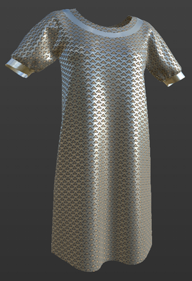 Digital fashion design - female metallic outfit by artist Deborah Leunig