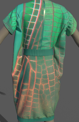 Digital fashion design - green orange cellular dress by artist Deborah Leunig