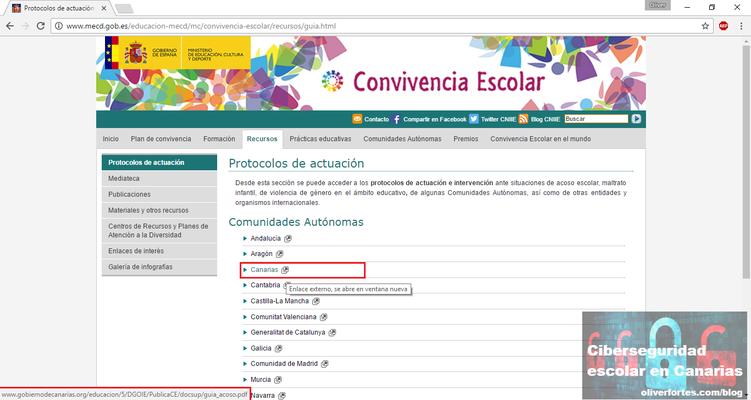 Protocolo de actuacion contra el acoso escolar Canarias