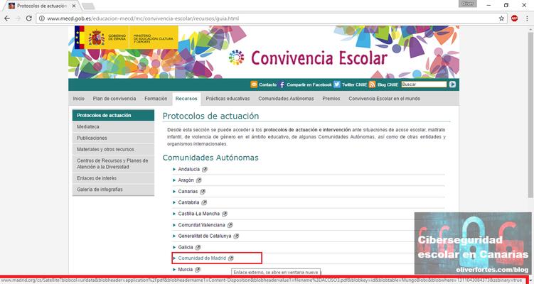 Protocolo de actuacion contra el acoso escolar Madrid