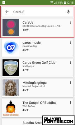 """Paso 1: En el menú de tu móvil, entra en la aplicación """"Play Store"""" y escribe arriba """"CareUs"""". Si tienes un Iphone, entra en """"Apple Store"""""""