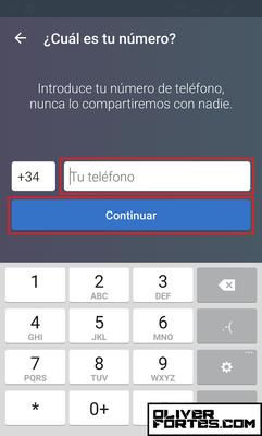 """Paso 5: Escribe tu número de teléfono (el +34 de delante indica que es de España) y pulsa """"Continuar""""."""