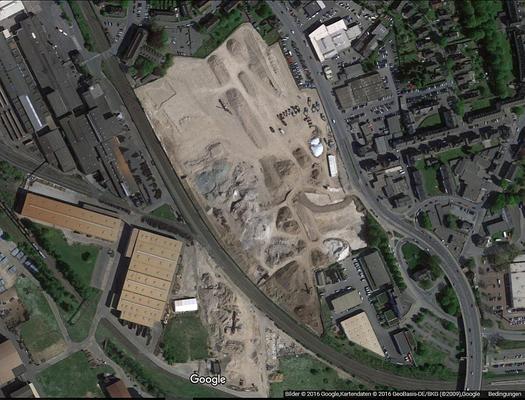 Luftbild nach Abbruch des Zementwerks, etwa Sommer 2016
