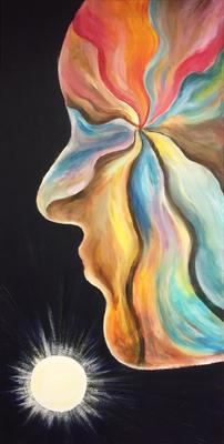 Acrylschilderij met als inspiratiebron het nummer 'Lover of the Light' van Mumford & Sons