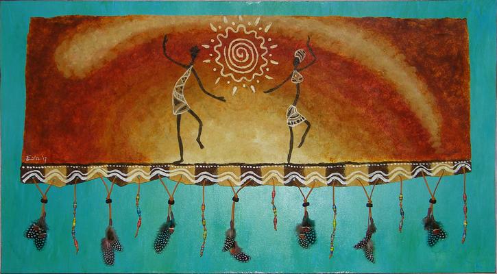 Mixed Media schilderij geïnspireerd op muziek van de Gambiaanse artiest Sona Jobarteh