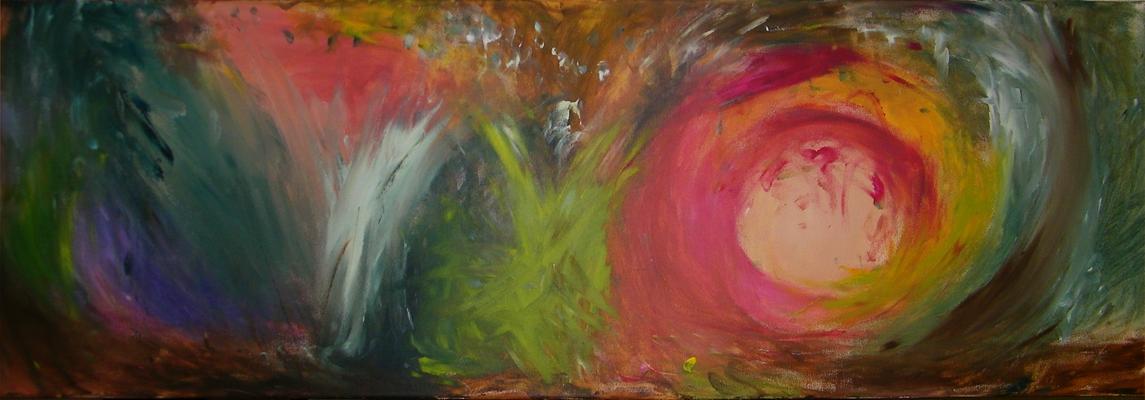 Acrylschilderij geïnspireerd op het nummer 'Mojave' van Afro Celt Sound System