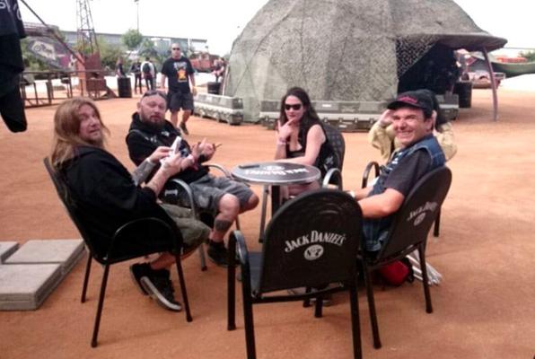 With Hervé, Stef, Virginie at the VIP-Area, Hellfest 2015