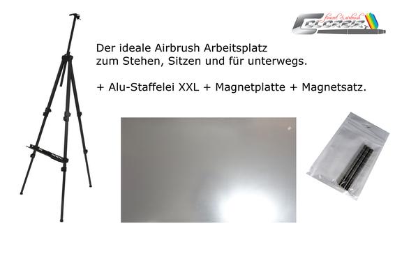 Staffelei in XL ALU-Profiausführung mit Magnetplatte und Magneten