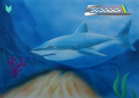 Hai Unterwasser Airbrushvorlage