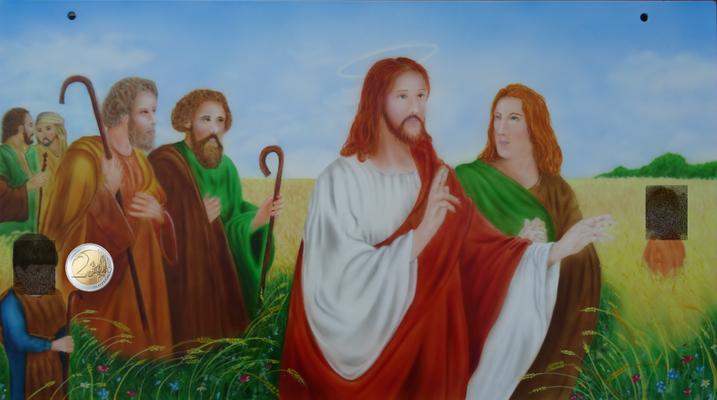 Jesus mit den Jüngern im Kornfeld. Edelstahlplatte 72x40 cm für ein Heiligenhaus