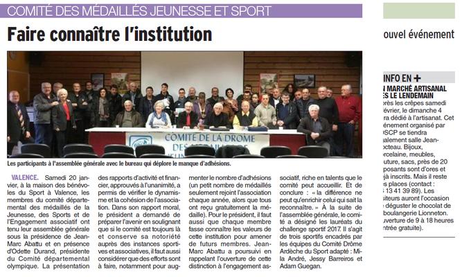 Dauphiné Libéré du-24-01-2018 - Médaillés CD26MJSEA