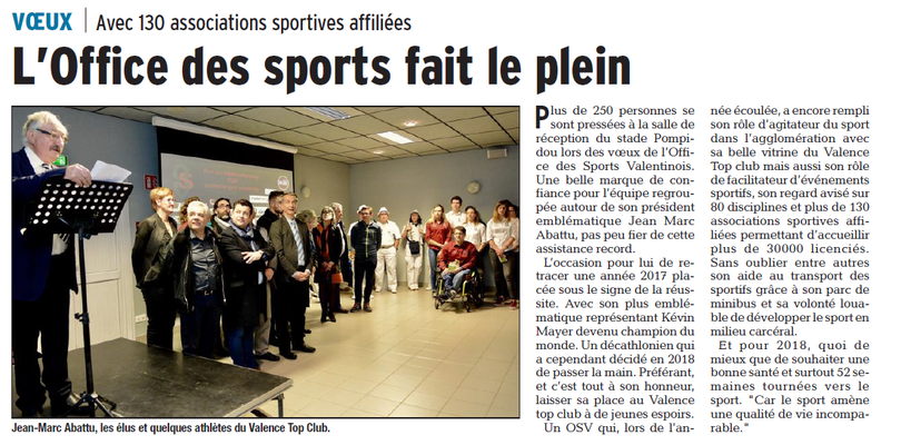 Dauphiné Libéré du 21-01-2018-CLES VOEUX de l'OSV