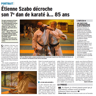 Dauphiné Libéré du 21-01-2018-MONTELIMAR-SZABO Etienne