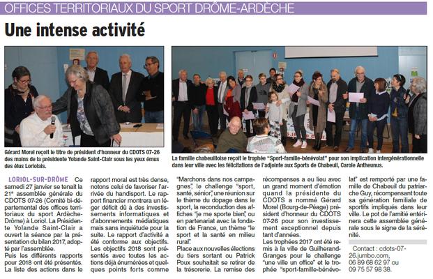 Dauphiné Libéré -31-01-2018- CDOTS 07-26 à Loriol
