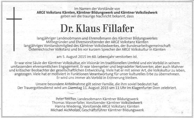 Die Mitglieder der Kulturgemeinschaft Reichenfels trauern um ihren Landes-Ehrenobmann Dr. Fillafer und Freund Klaus