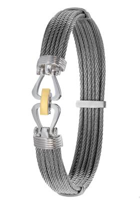 Bracelet Cable, fermoir acier et or 18 carats.