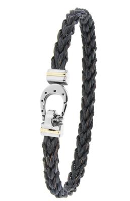 Bracelet Cheval tressé, fermoir acier et or 18 carats.