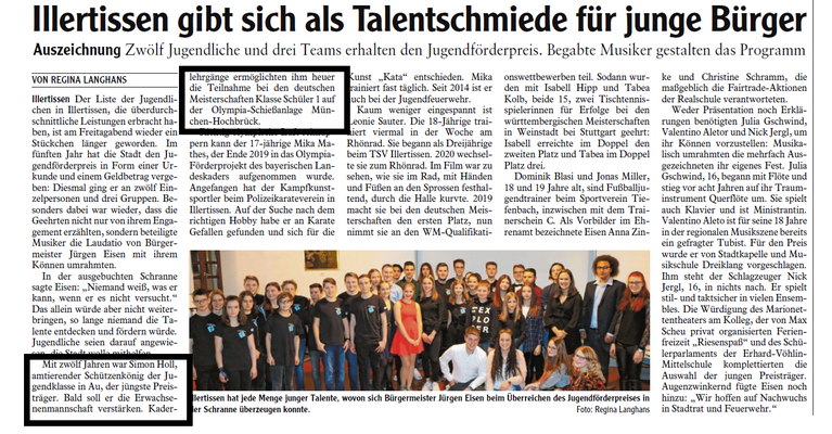 Illertisser-Zeitung vom 17.02.2020: Jugendförderpreis für Simon Holl