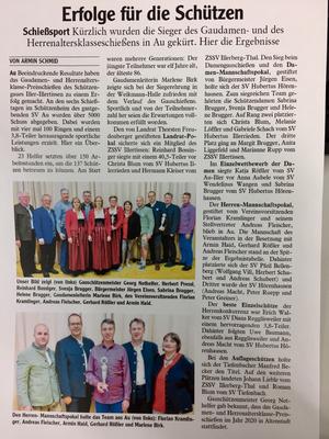 Illertisser-Zeitung, Gaudamen- und Herrenaltersklasseschießen 2019