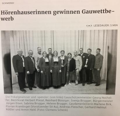 Gaudamen- und Herrenaltersklassepreisschießen 2019 in Au, Bericht aus der Schwäbischen Zeitung
