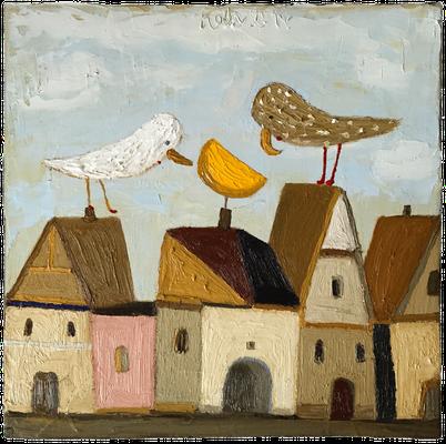 2 Vögel in Betrachtung des Mondes · Öl/Leinwand · 30x30cm
