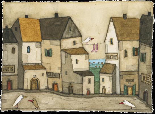 Heim Stadt · Aquarell · 17x24cm