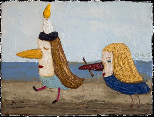 Der Künstler und seine Assistentin am Meer · Öl/Leinwand · 18/24cm