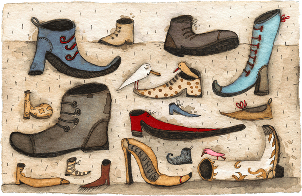 Schuhspanner · Aquarell · 10x15cm