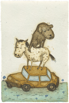 Hund. Fährt. Auto.