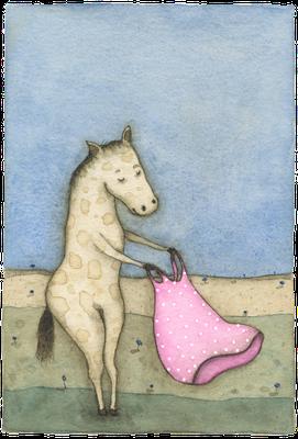 Pony & Kleid · Aquarell · 18x24cm