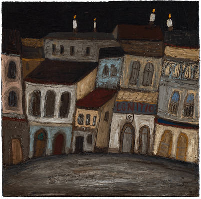 Stadtbeleuchtung IV · Öl/Leinwand · 40x40cm