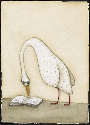 Der geneigte Leser · Aquarell · 10x13cm