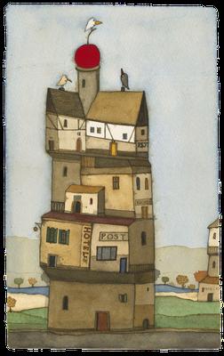 Haus Hoch gewonnen · Aquarell · 19x28cm